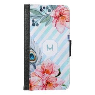 Boho versieht den Blumen Aquarell-Streifen mit Samsung Galaxy S6 Geldbeutel Hülle