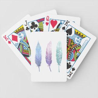 Boho Wasserfarbe-Feder-Trio Bicycle Spielkarten