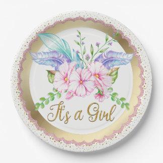 Boho Watercolor-Blumen-Baby-Duschen-Papier-Teller Pappteller