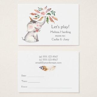 Boho Watercolor-Elefant-Blumen-Mamma Nennen Visitenkarte