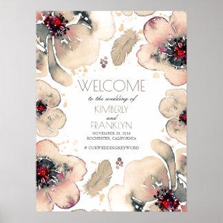 Boho Watercolor-Elfenbein-Blumen, die willkommenes Poster
