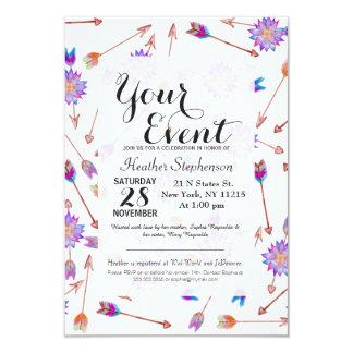 Boho Watercolor-handgemalte Blume und Pfeile 8,9 X 12,7 Cm Einladungskarte