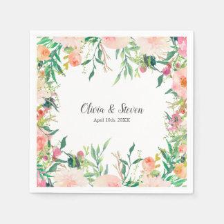 Boho Watercolor-personalisierte mit Blumenhochzeit Serviette