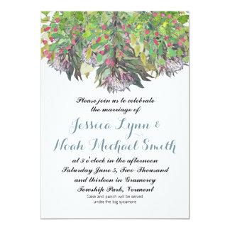 Boho Watercolor-Rosa-lila grüne Blumenhochzeit 12,7 X 17,8 Cm Einladungskarte