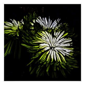 Boho Zen-Limone grüne weiße mit Blumenchrysantheme Poster