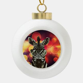 Bokeh Kunst mit Zebra-Art Keramik Kugel-Ornament