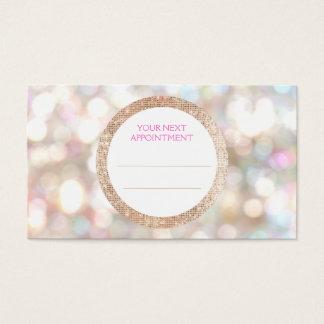 Bokeh und Rosen-Goldsequin-Haar-Salon-Verabredung Visitenkarten