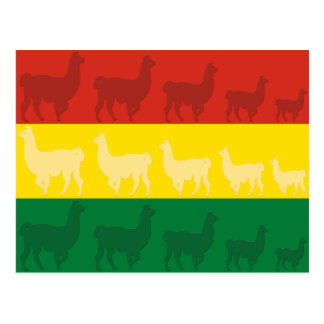Bolivianische Flagge mit Lamas Postkarte