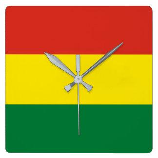 Bolivien-Flagge Quadratische Wanduhr