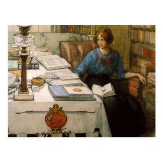 Bolla in der Bibliothek Postkarte