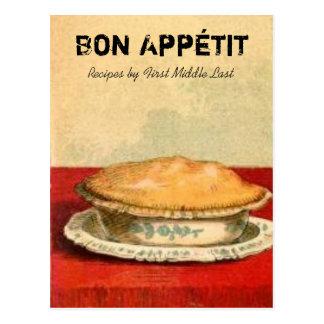Bon Appetit Torten-Rezept-Karte Postkarte