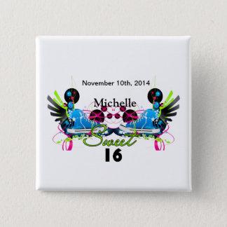 Bonbon 16 Achtzigerjahre Neonturnschuh-Namensdatum Quadratischer Button 5,1 Cm