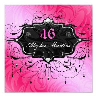 Bonbon 16 Geburtstags-Juwel-Leuchter-Rahmen-Rosa 2 Personalisierte Einladungskarten