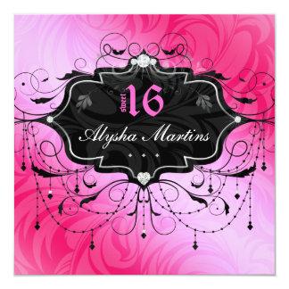 Bonbon 16 Geburtstags-Juwel-Leuchter-Rahmen-Rosa 2 Quadratische 13,3 Cm Einladungskarte