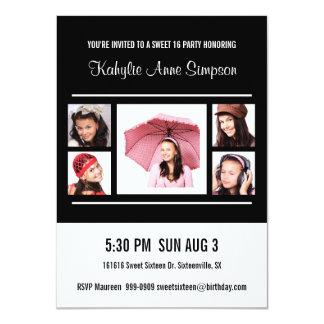 Bonbon 16 Geburtstags-Party mit Fotos 11,4 X 15,9 Cm Einladungskarte