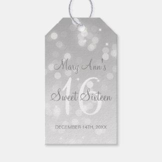 Bonbon 16 Geburtstags-Party-Silber Bokeh Geschenkanhänger