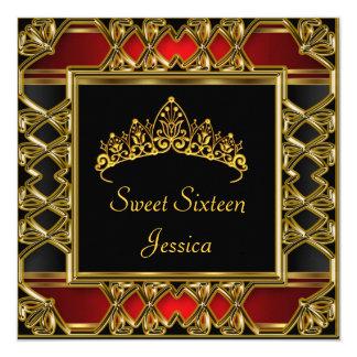 Bonbon 16 Geburtstags-schwarze rote GoldTiara Quadratische 13,3 Cm Einladungskarte