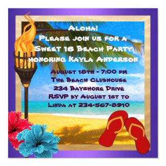 Bonbon 16 Luau Strand-Party Quadratische 13,3 Cm Einladungskarte