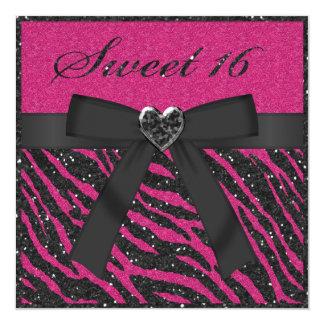 Bonbon 16 rosa u. schwarzer Zebra-Druck u. Glitter Quadratische 13,3 Cm Einladungskarte