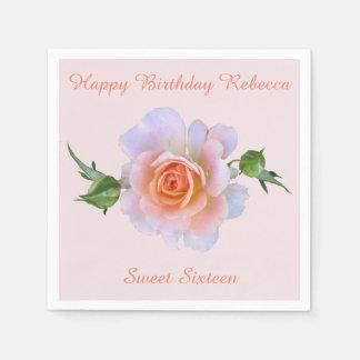 Bonbon-16. Rosen-Geburtstag personalisiert Papierserviette