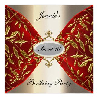 Bonbon 16 rot und Metallgeburtstags-Party Quadratische 13,3 Cm Einladungskarte