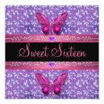 Bonbon 16 sechzehn Geburtstags-lila rosa lila Personalisierte Ankündigungskarten