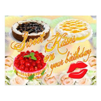 Bonbon-Küsse auf Ihrem Geburtstag! Postkarte