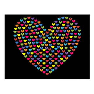 Bonbon-Regenbogen-Liebe-Herzen Postkarte