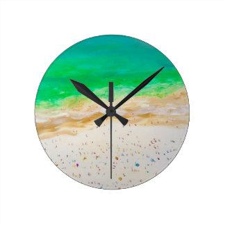 Bondi Strand-Luftaufnahme Runde Wanduhr