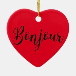 Bonjour-blackText Keramik Herz-Ornament