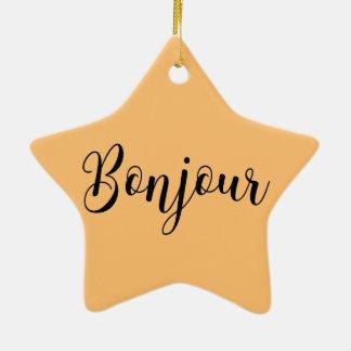 Bonjour-blackText Keramik Ornament