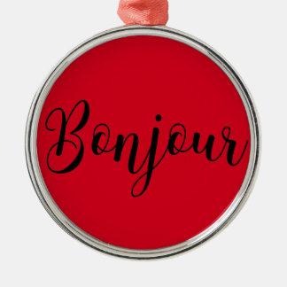 Bonjour-blackText Rundes Silberfarbenes Ornament