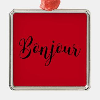 Bonjour-blackText Silbernes Ornament