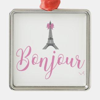 Bonjour-Eiffel Turm-Bogen einzigartig Quadratisches Silberfarbenes Ornament