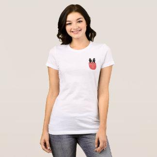 Bonjour französische Bulldogge in einer Tasche T-Shirt