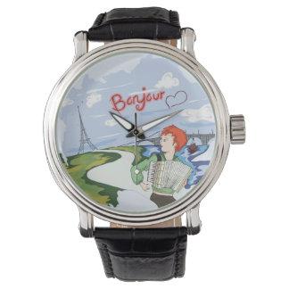 Bonjour Paris Zeichnen Armbanduhr