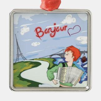 Bonjour Paris Zeichnen Quadratisches Silberfarbenes Ornament