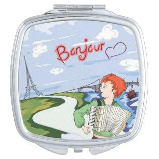 Bonjour Paris Zeichnen Taschenspiegel