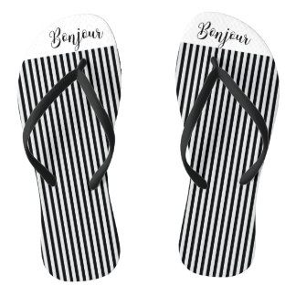 Bonjour Schwarz-weiße Streifen Flip Flops