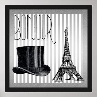 Bonjour Zylinder und Eiffelturm Poster
