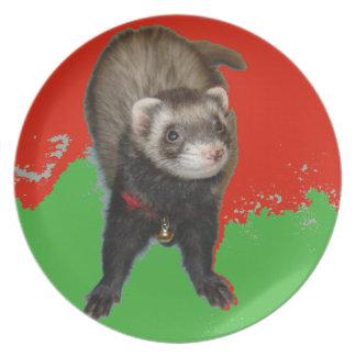 Bonnie in der grünen und roten Weihnachtsplatte Melaminteller