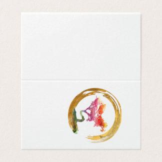 Bonsais-Baum. Zen Enso Kreis. Aquarell Feng Shui Karte