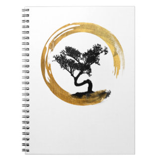 Bonsais-Baum. Zen Enso Kreis. Aquarell-Kunst Spiral Notizblock