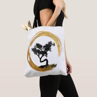 Bonsais-Baum. Zen Enso Kreis. Aquarell-Kunst Tasche