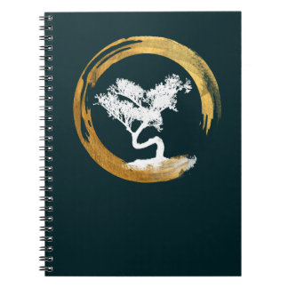 Bonsais-Baum. Zen Enso Kreis. Feng Shui Calligraph Notizblock
