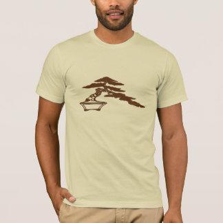 Bonsais-Silhouette, Halbkaskade Art (braune Tinte) T-Shirt