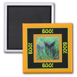 Boo-Halloween-Katze Quadratischer Magnet