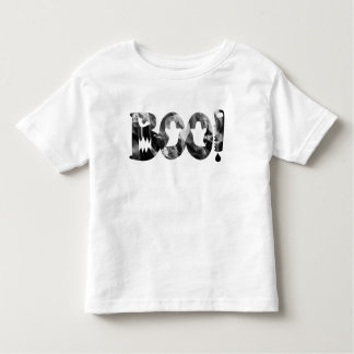 BOO! Schwarzer u. weißer beängstigender Geist-T - Kleinkind T-shirt