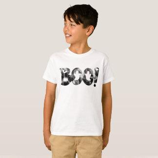 BOO! Schwarzer u. weißer beängstigender Geist-T - T-Shirt