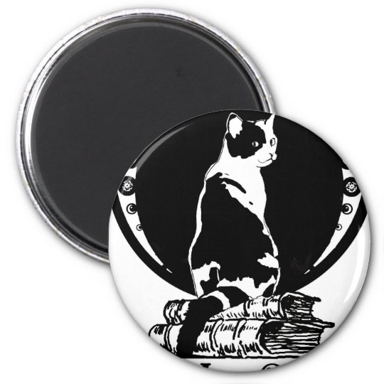 Books,cats,life is sweet Kopie_vectorized Runder Magnet 5,7 Cm